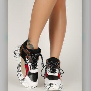 QUPID ColorBlock Marble Platform Sneakers